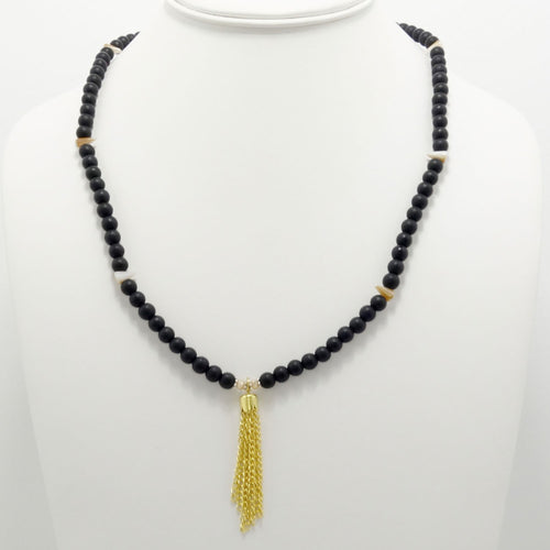 Matte Black Spike Tassel Beaded Necklace