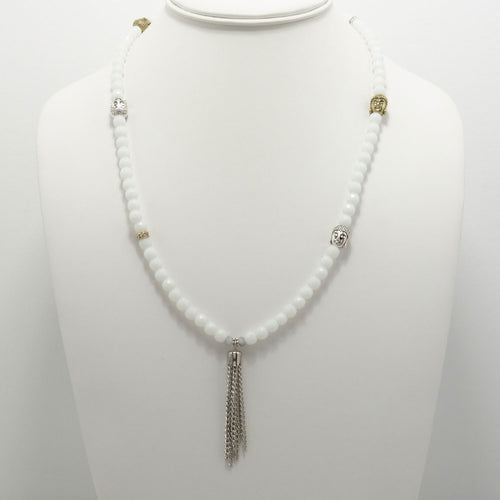 White Jade Buddha Tassel Beaded Necklace