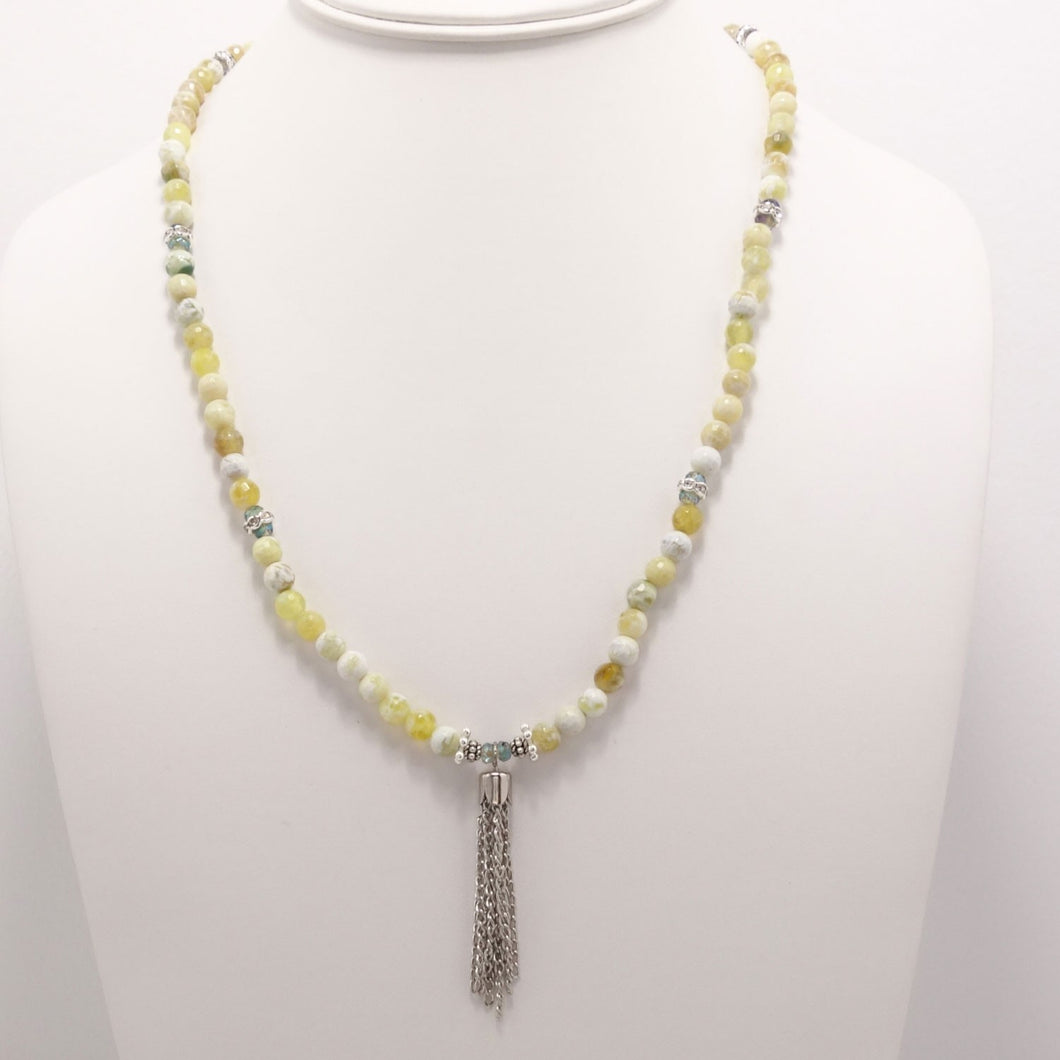 Yelllow Melon Silver Tassel Beaded Necklace