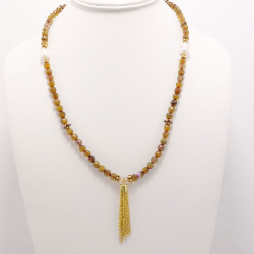Golden Spider Tassel Beaded Necklace