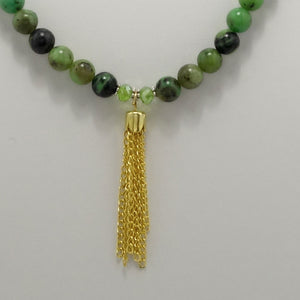 Army Green Speckled Tassel Beaded Necklace