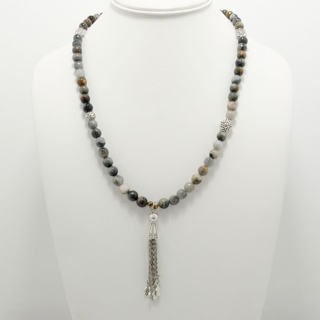 Hawk's Eye Tassel Beaded Necklace