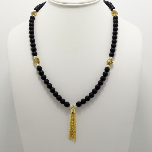 Matte Black Gold Tassel Beaded Necklace