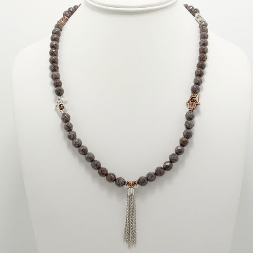 Brown Grey Hamsa Tassel Beaded Necklace
