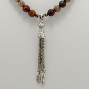 Fire Engine Red Tassel Beaded Necklace