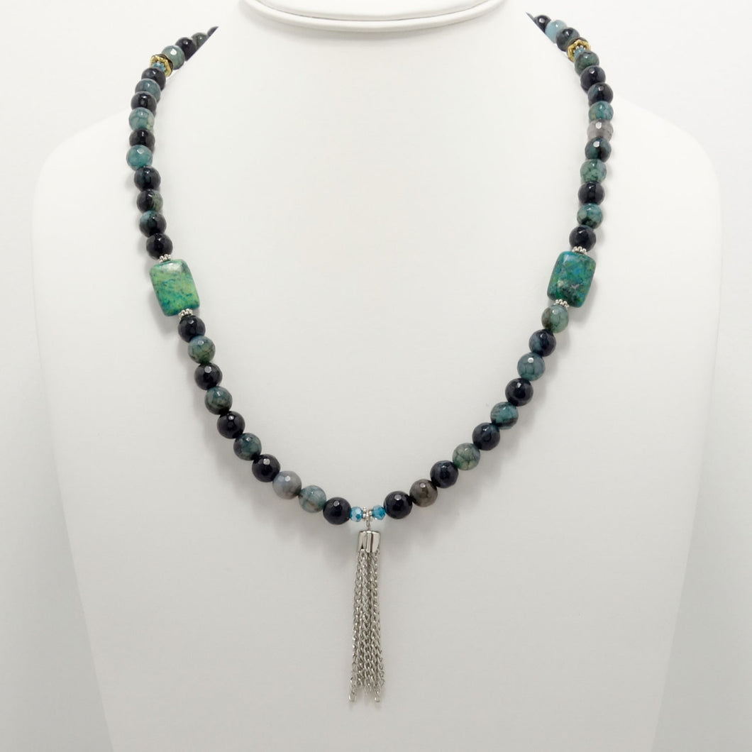 Sea Breeze Blue Tassel Beaded Necklace