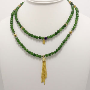 Green Black Speckled Gold Tassel Beaded Necklace
