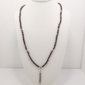 Brown Grey Silver Tassel Beaded Necklace