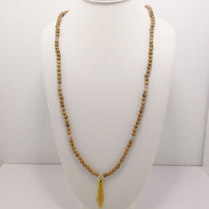Natural Jasper Gold Tassel Beaded Necklace