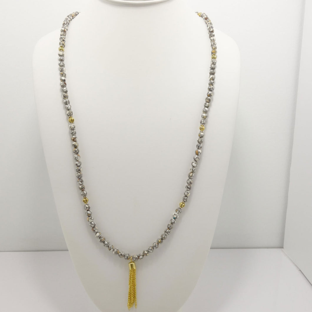 White Grey Vein Gold Tassel Beaded Necklace