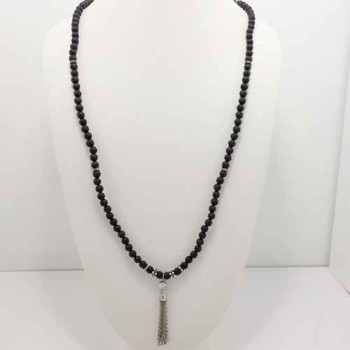 Black Lava Silver Tassel Beaded Necklace