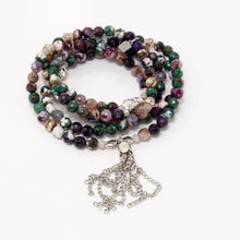 Purple Green Elephant Tassel Beaded Necklace