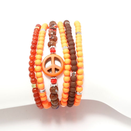 Orange and Brown Four Bracelet Bundle