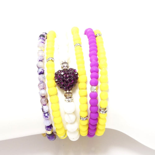 Bright Purple and Yellow Four Bracelet Bundle