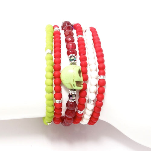 Red and Green Four Bracelet Bundle