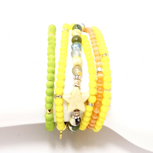 Yellow and Green Four Bracelet Bundle