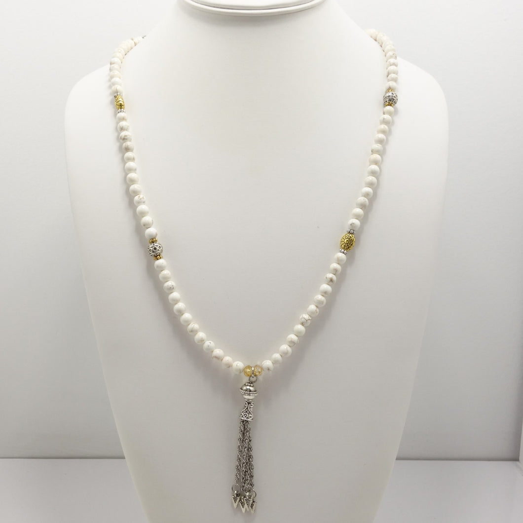 White Turquoise Silver Tassel Beaded Necklace