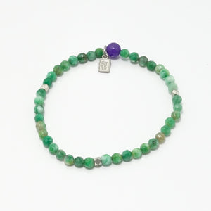 Multi Green Agate Beaded Bracelet/Silver