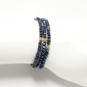 Midnight Blue Gold Triple Wrap Bracelet