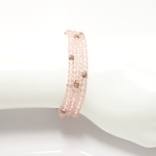 Shiny Pink Rose- Gold Crystal Triple Wrap Bracelet