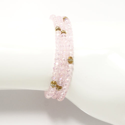 Shiny Pink Gold Crystal Triple Wrap Bracelet