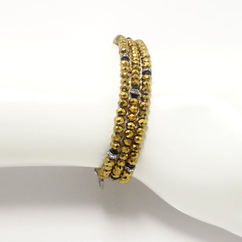 Metallic Gold Black Triple Crystal Wrap Bracelet