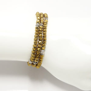 Metallic Gold Silver Triple Crystal Wrap Bracelet