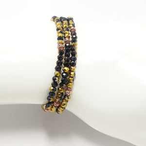 Black/Metallic Gold Rose-Gold Crystal Triple Wrap Bracelet