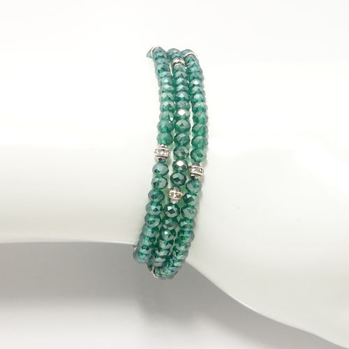 Shiny Green Silver Crystal Triple Wrap Bracelet