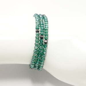 Shiny Green Black Crystal Triple Wrap Bracelet