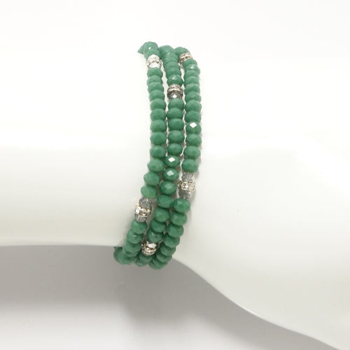 Deep Mist Green Silver Crystal Triple Wrap Bracelet