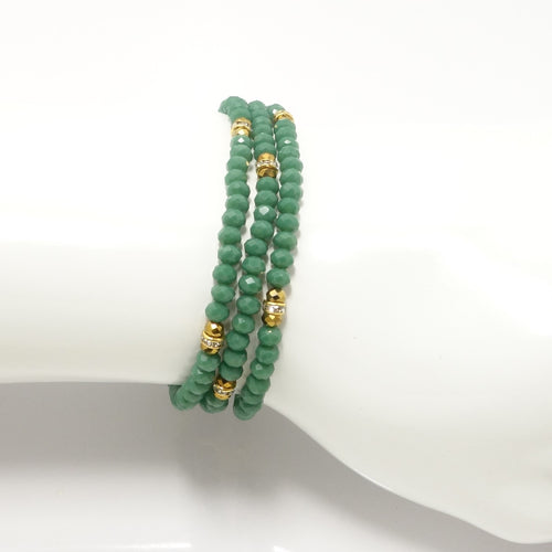 Deep Mist Green Gold Crystal Triple Wrap Bracelet