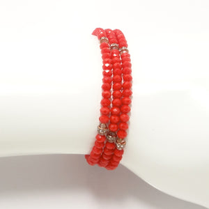 Fire Red Rose-Gold Crystal Triple Wrap Bracelet