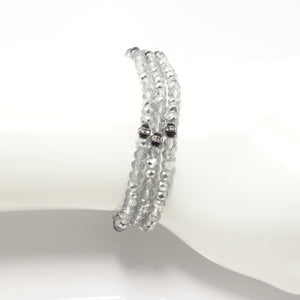 Silver/Clear Black Crystal Triple Wrap Bracelet