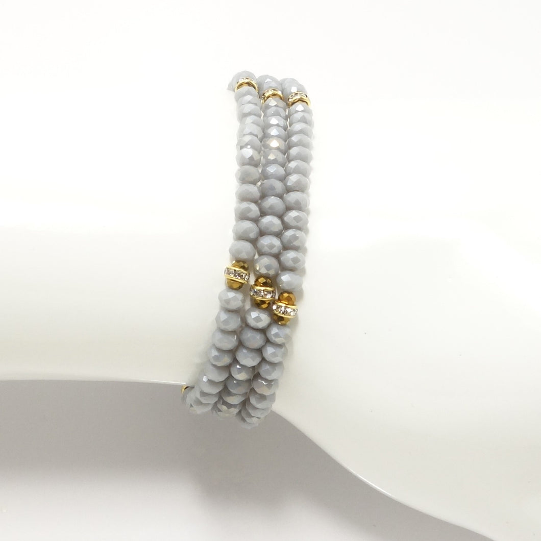 Light Denim Gold Crystal Triple Wrap Bracelet