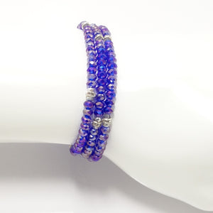 Shiny Blue Silver Crystal Triple Wrap Bracelet