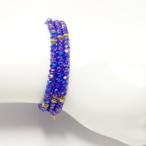 Shiny Blue Gold Crystal Triple Wrap Bracelet