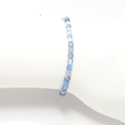 Baby Blue & White/Silver Beaded Bracelet