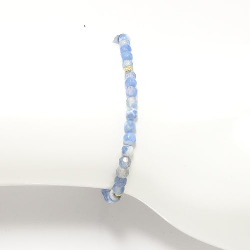 Baby Blue & White/Gold Beaded Bracelet