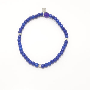 Royal Blue/Silver Beaded Bracelet