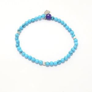 Bright Blue Turquoise/Silver Beaded Bracelet