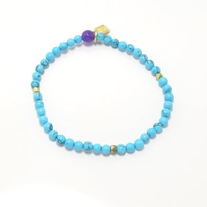 Bright Blue Turquoise/Gold Beaded Bracelet