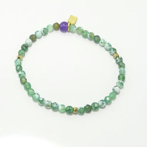 Green & White/Gold Beaded Bracelet