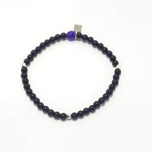 Shinny Black/Silver Beaded Bracelet