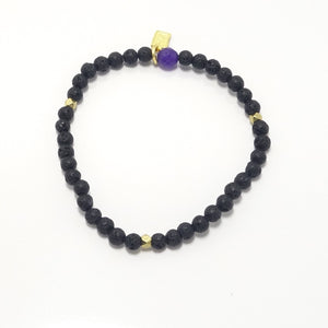 Black Lava/Gold Beaded Bracelet