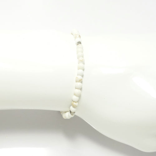 White Turquoisew/Silver Beaded Bracelet