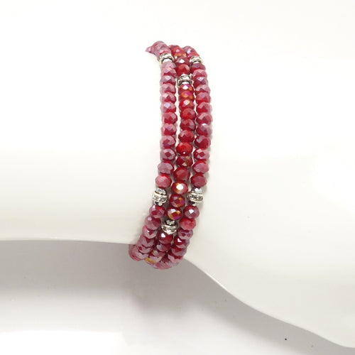 Shiny Red Silver Crystal Triple Wrap Bracelet