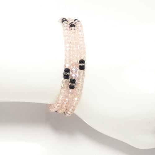 Shiny Pink Black Crystal Triple Wrap Bracelet