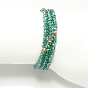 Shiny Green Rose-Gold Crystal Triple Wrap Bracelet