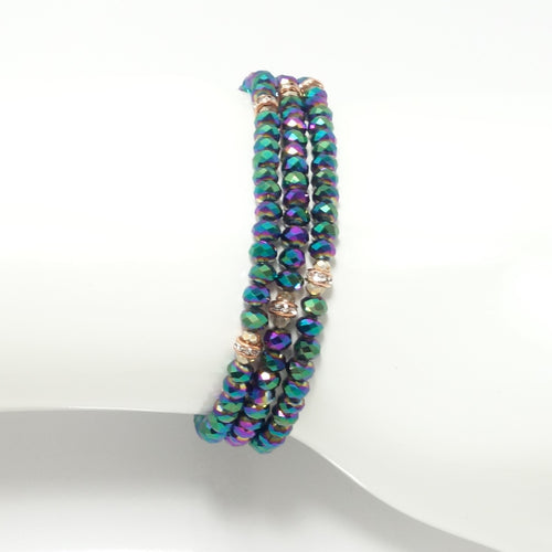 Green Metallic Rose-Gold Crystal Triple Wrap Bracelet